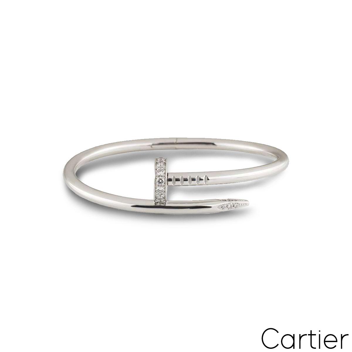 Cartier White Gold Diamond Juste Un Clou Bracelet Size 15B6048715